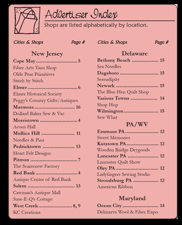 The Country Register of DE/NJ Current advertisers listing. Nov-Dec 18
