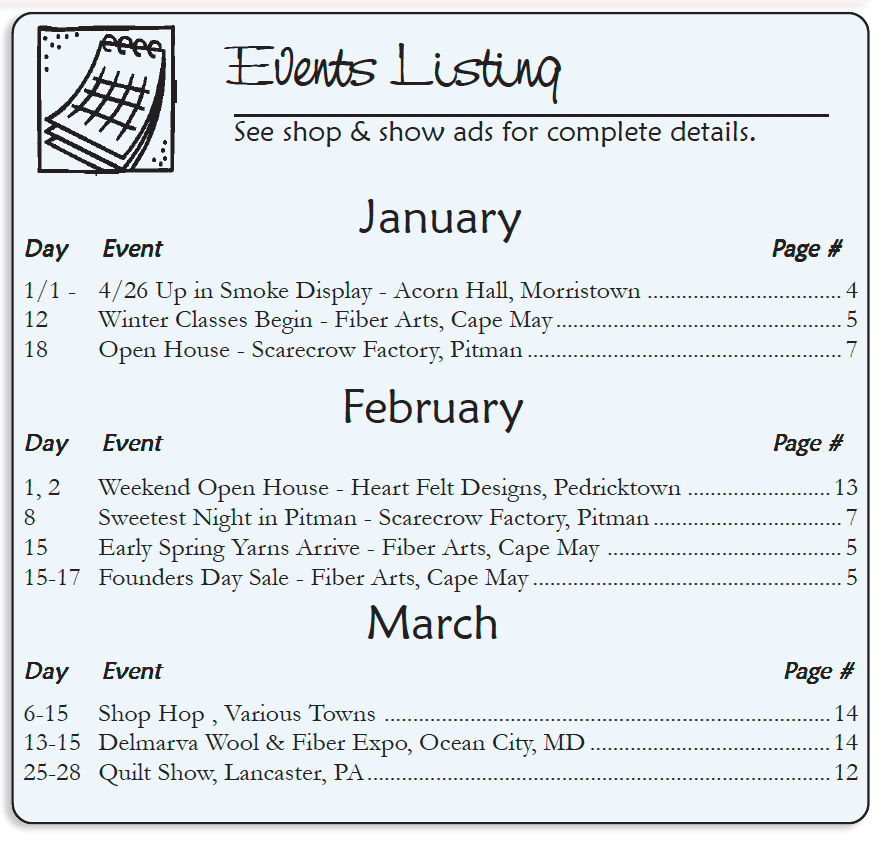 The Country Register of NJ/DE Events Listing
