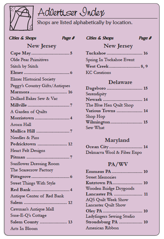 The Country Register of DE/NJ Current advertisers listing. MARCH-APRIL 20