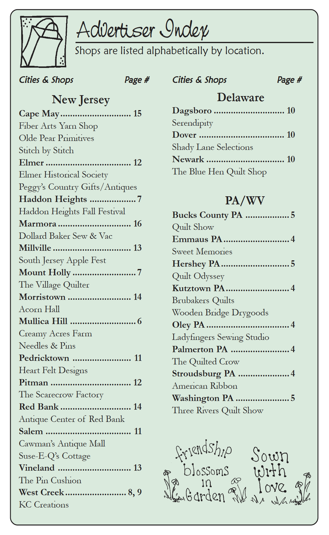 The Country Register of DE/NJ Current advertisers listing. Nov-Dec 18