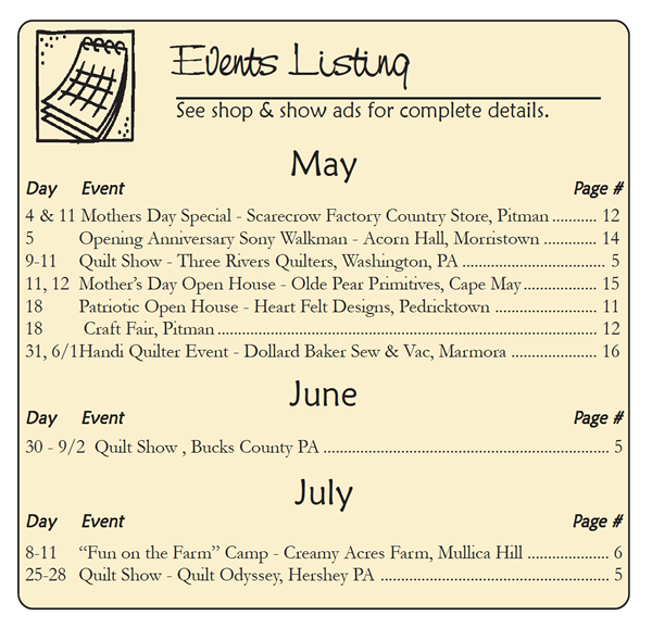 The Country Register of NJ/DE current advertiser event listing.