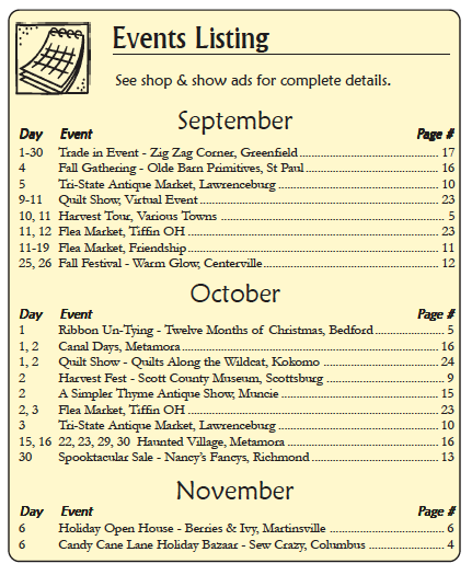 THE COUNTRY REGISTER OF INDIANA - CURRENT ADVERTISER LISTING