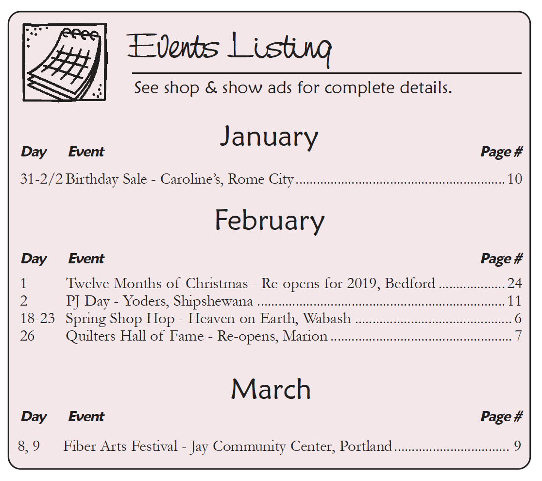 The Country Register of Indiana - Advertiser's Events Listing JAN-FEB 19