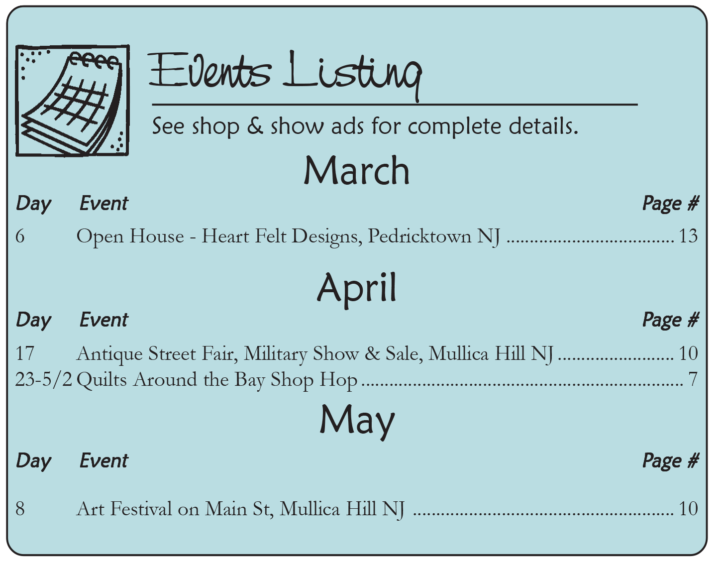The Country Register of PA/WV Events Listing