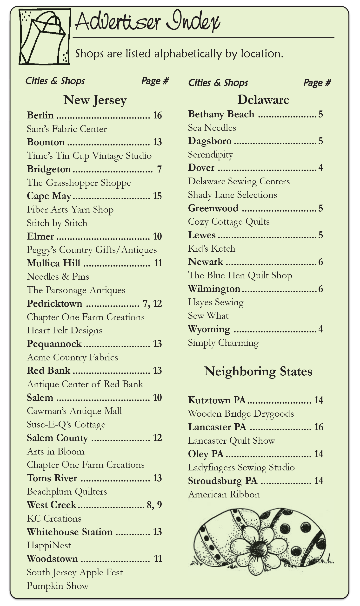 The Country Register of DE/NJ Current advertisers listing.